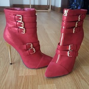Red Shimmer Boots